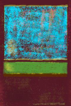 Abstract in rood, groen en blauw van Rietje Bulthuis