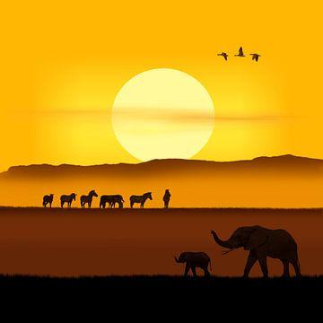 Een ochtend in de Afrikaanse savanne variant 2 in vierkant formaat van Monika Jüngling