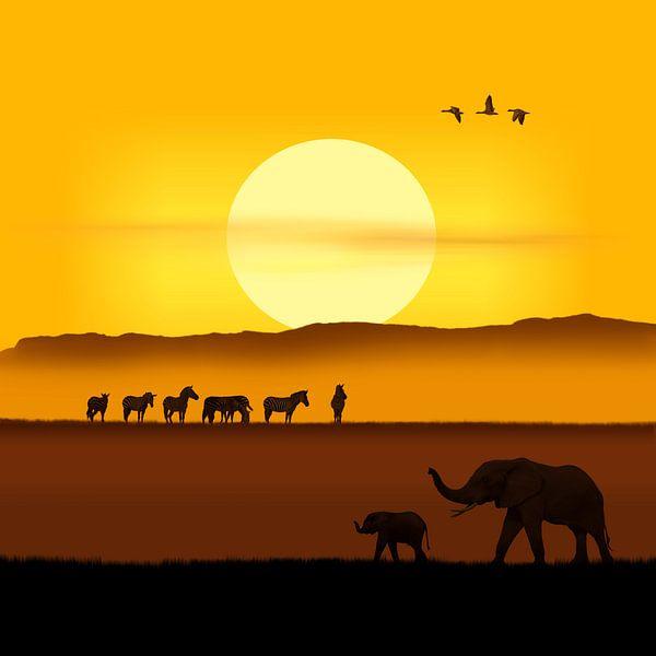Ein Morgen in der afrikanischen Savanne Variante 2 im quadratischen Format von Monika Jüngling