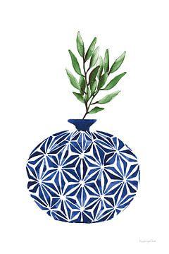 Kobalt geometrische vazen IV, Mercedes Lopez Charro van Wild Apple
