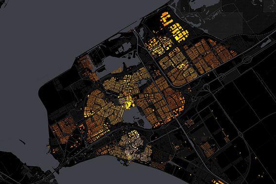 Kaart van Almere abstract van Stef Verdonk