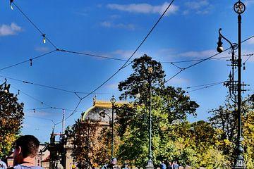 Prag - Allee mit Straßenbahnlinie von Wout van den Berg