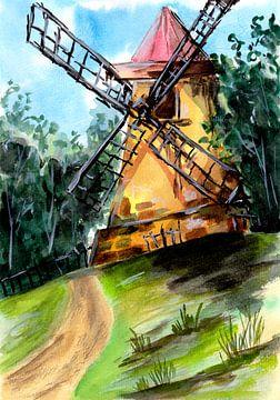 Alte Windmühle auf dem Hügel von ZeichenbloQ