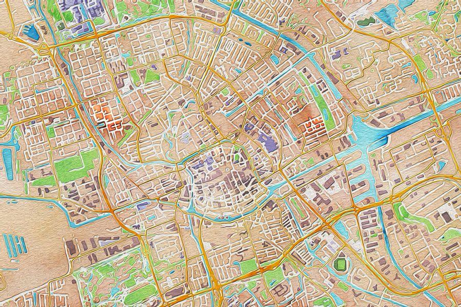 Kleurrijke kaart van Groningen van Stef Verdonk