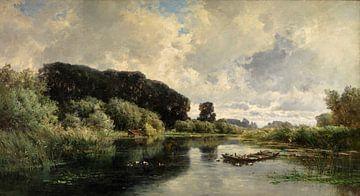 Carlos de Haes~Bloem eenden in de vijver, landschap van vijzelbossen, antiek landschap