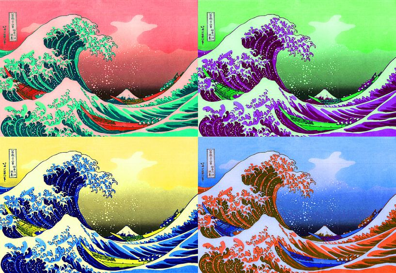 De grote golf van Warhol (Kanagawa) Pop Art, Fuji, Japan van Roger VDB