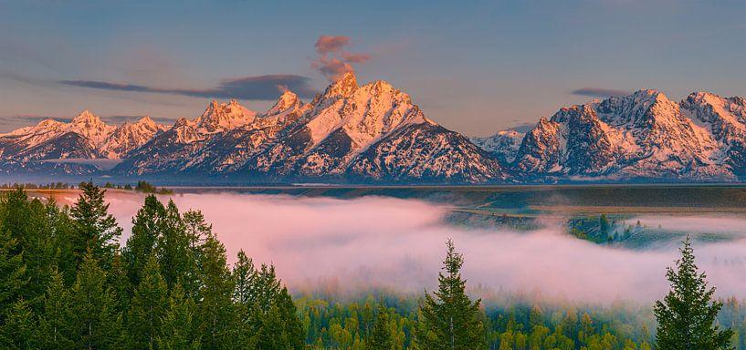 Zonsopkomst Snake River Overlook, Grand Teton N.P, Wyoming van Henk Meijer Photography
