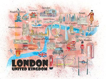London UK Affiche de voyage illustrée Carte préférée Faits saillants touristiques sur Markus Bleichner