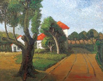 Huis langs een boerenweg van Galerie Ringoot