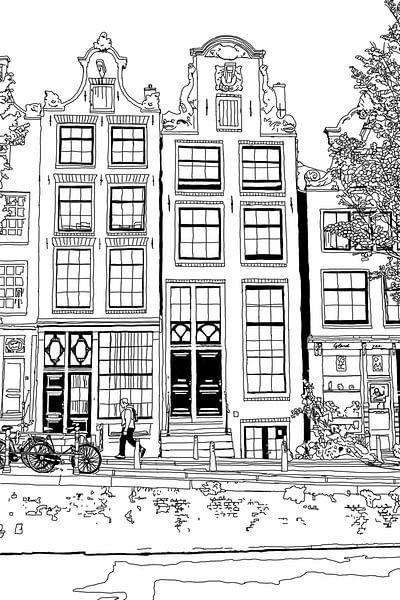 Tekening Brouwersgracht 48 Amsterdam Pentekening Lijntekening van Hendrik-Jan Kornelis