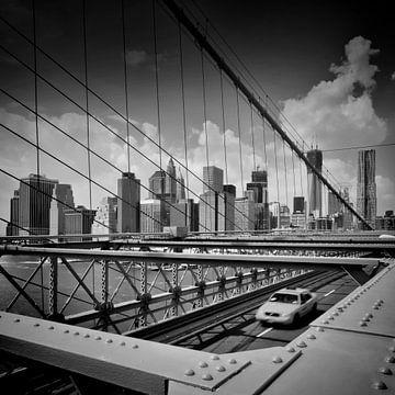 NYC Blick von der Brooklyn Bridge | Monochrom