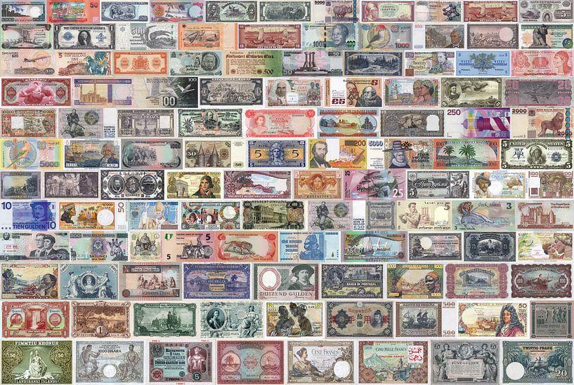 Collage de vieux billets de banque du monde entier sur Roger VDB