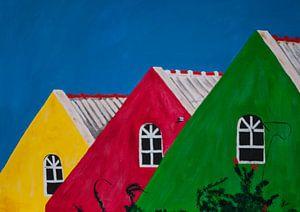 Kleurige daken op Curaçao