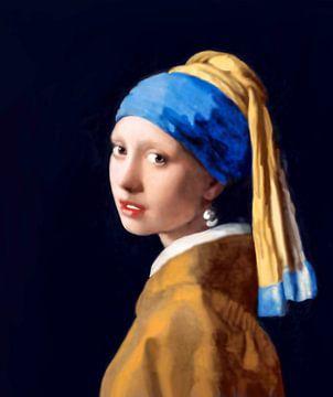 Meisje met de parel van Vermeer -  zonder craquelé van Maarten Visser