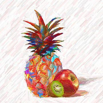 Bunte Ananas mit Apfel von Marion Tenbergen