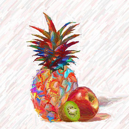 Bunte Ananas mit Apfel