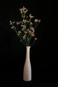 Stilleven met kleurrijke bloemen in witte vaas