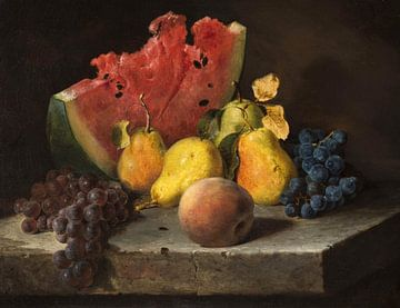 Lilly Martin Spencer~Stilleben mit Wassermelone, Birnen, Weintrauben