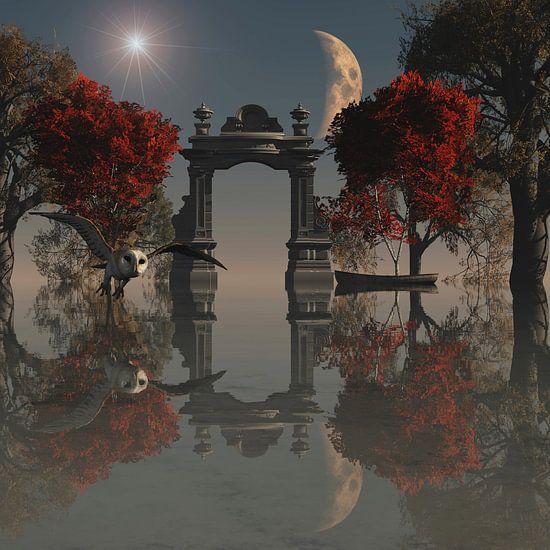 Dierenrijk – Uil op jacht in een surrealistisch landshap
