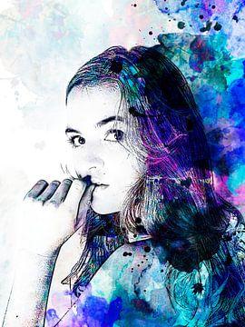 Digitale Foto Kunst - Portret van Vrouw in waterverf / gezicht / ogen / lippen / abstract / kleur /  van Art By Dominic