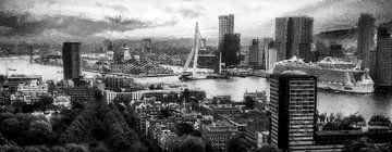Panorama Rotterdam skyline zwart wit van Digitale Schilderijen