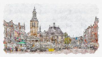 Markt, Raadhuis en Sint-Janskerk in Roosendaal (aquarel) van Art by Jeronimo