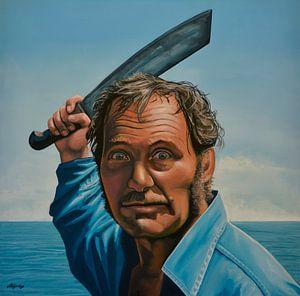 """Robert Shaw in """"Der weiße Hai"""" Gemälde"""