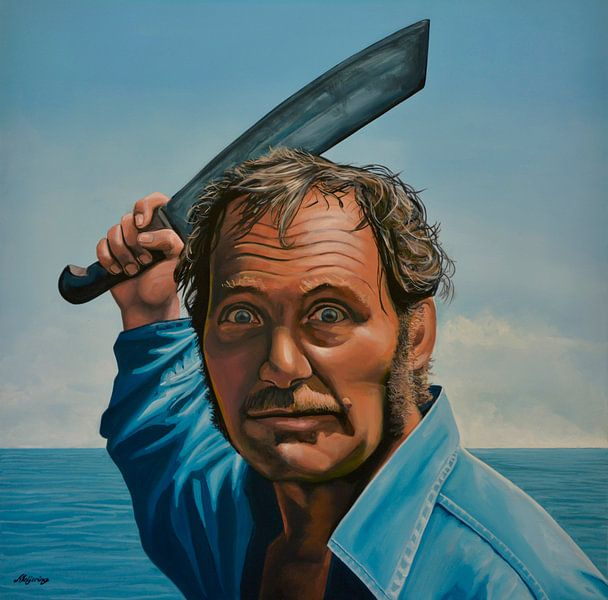 """Robert Shaw in """"Der weiße Hai"""" Gemälde von Paul Meijering"""