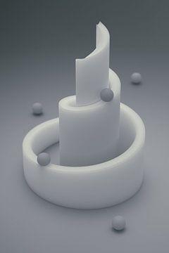 Crèmekleurige marmerbaan grijs (met digitale filmkorrel) van Jörg Hausmann