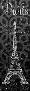 Grafische Kunst PARIS Eiffel toren | grijs & zilver
