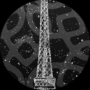 Grafische Kunst PARIS Eiffel toren   grijs & zilver van Melanie Viola