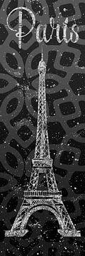 Grafische Kunst PARIS Eiffel toren | grijs & zilver van Melanie Viola