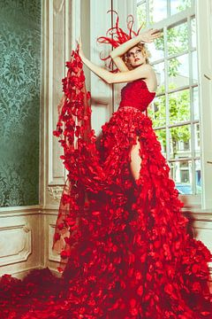 Fashion model in rode jurk van André Scherpenberg