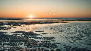 Zonsondergang op het strand van Norderney van Steffen Peters