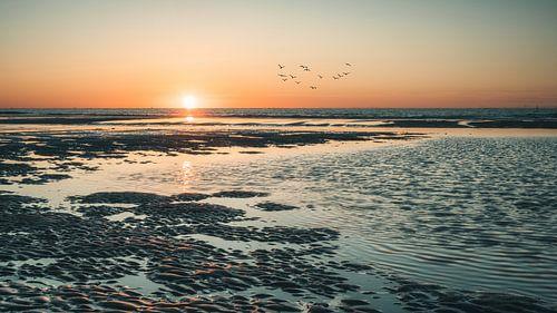Sonnenuntergang am Strand von Norderney