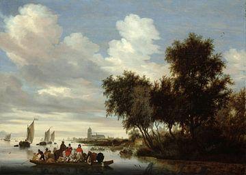 Rivierlandschap met een veerboot, Salomon van Ruysdael van