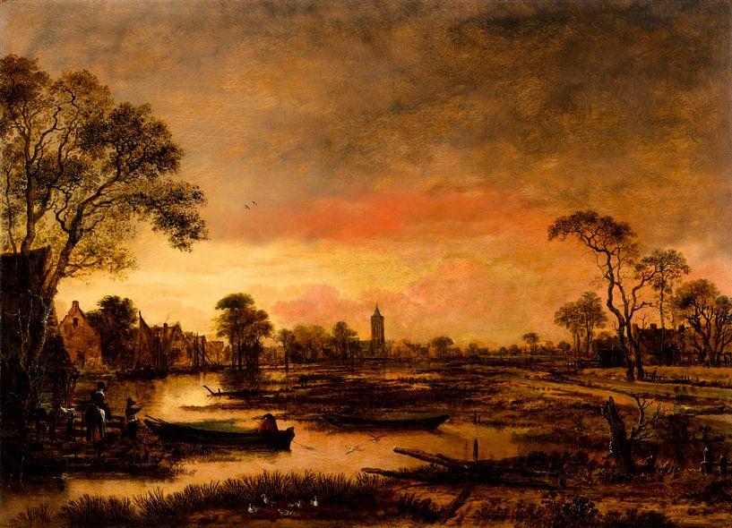 Flusslandschaft, Aert van der Neer von Meesterlijcke Meesters