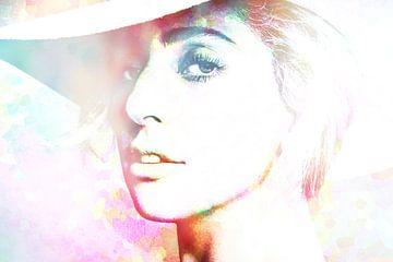 Lady Gaga Modernes abstraktes Porträt in Rosa, Blau, Orange von Art By Dominic