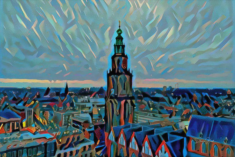 Schilderij vanaf Groninger Forum: Skyline van Groningen met de Martinitoren van Slimme Kunst.nl