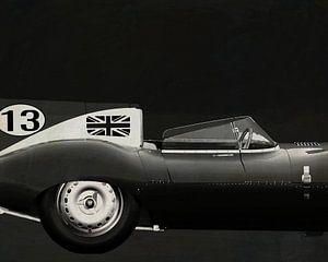Jaguar Type D 1956 Côté droit N&B
