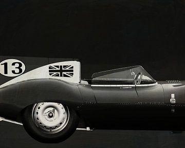 Jaguar Type D 1956 Rechterzijde B&W