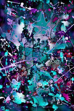 Modernes, abstraktes digitales Kunstwerk in Blau, Lila und Schwarz von Art By Dominic