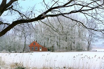 Huisje in winters landschap van