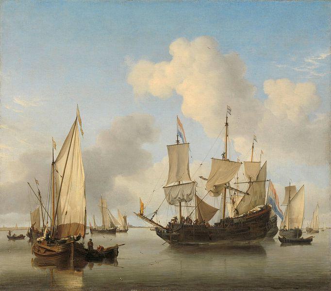 Schepen onder de kust voor anker, Willem van de Velde (II) van Meesterlijcke Meesters