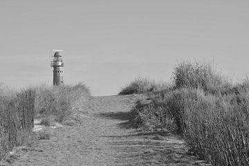 vuurtoren schiermonnikoog  in zwart-wit van Groothuizen Foto Art