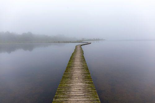 Vlonderpad in de mist
