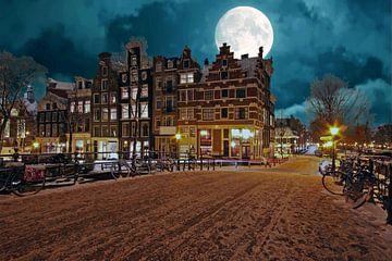 Besneeuwd Amsterdam bij volle maan in Nederland sur Nisangha Masselink