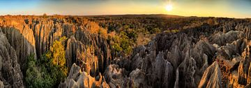 Tsingy zonsondergang panorama landschap von Dennis van de Water