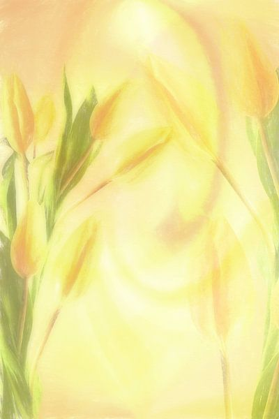 Flowers pastel yellow Collage van Dagmar Marina