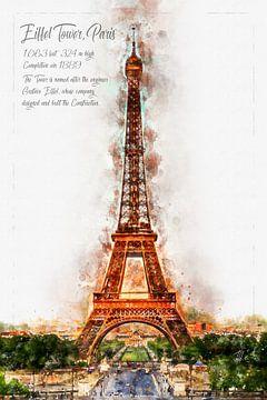 Eiffeltoren, aquarel, Parijs van Theodor Decker